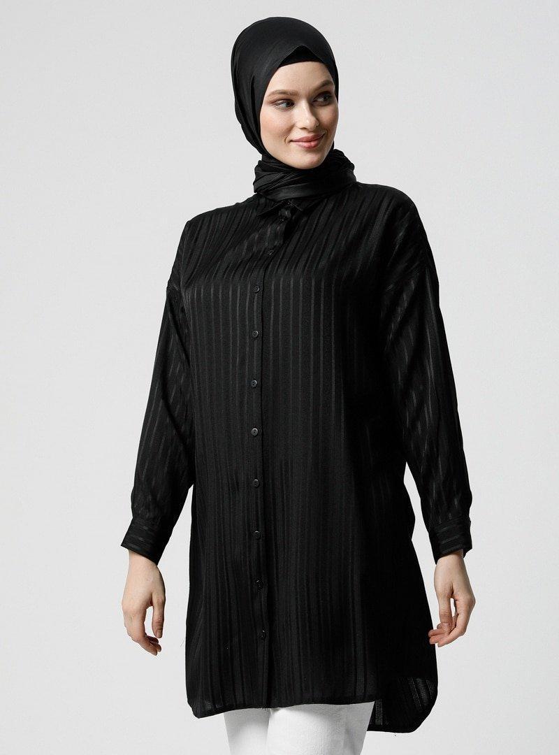 Refka Siyah Doğal Kumaşlı Çizgili Desenli Tunik