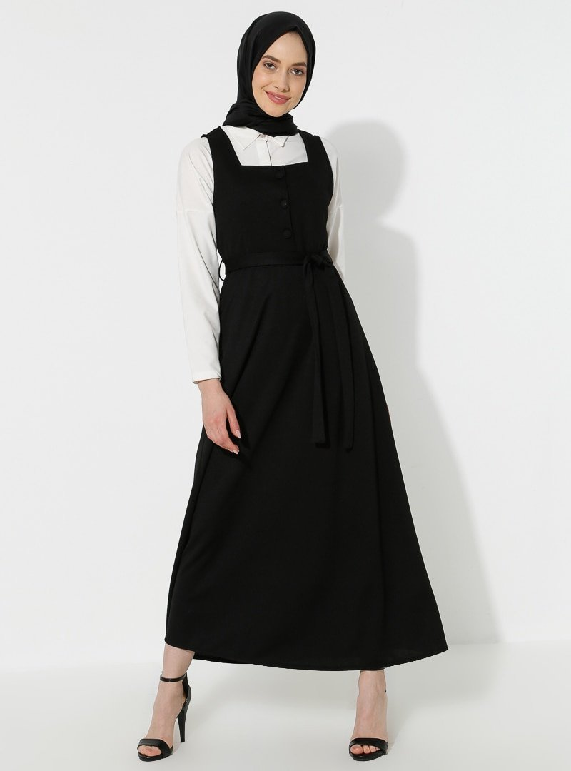 Topless Siyah Jile Elbise