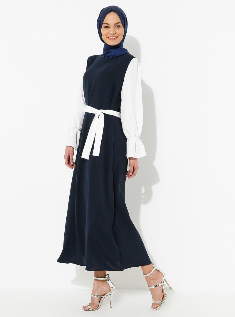 Tuncay Lacivert Garnili Elbise