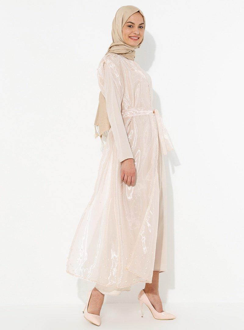 Tuncay Bej İnci Detaylı Tül Parçalı Elbise