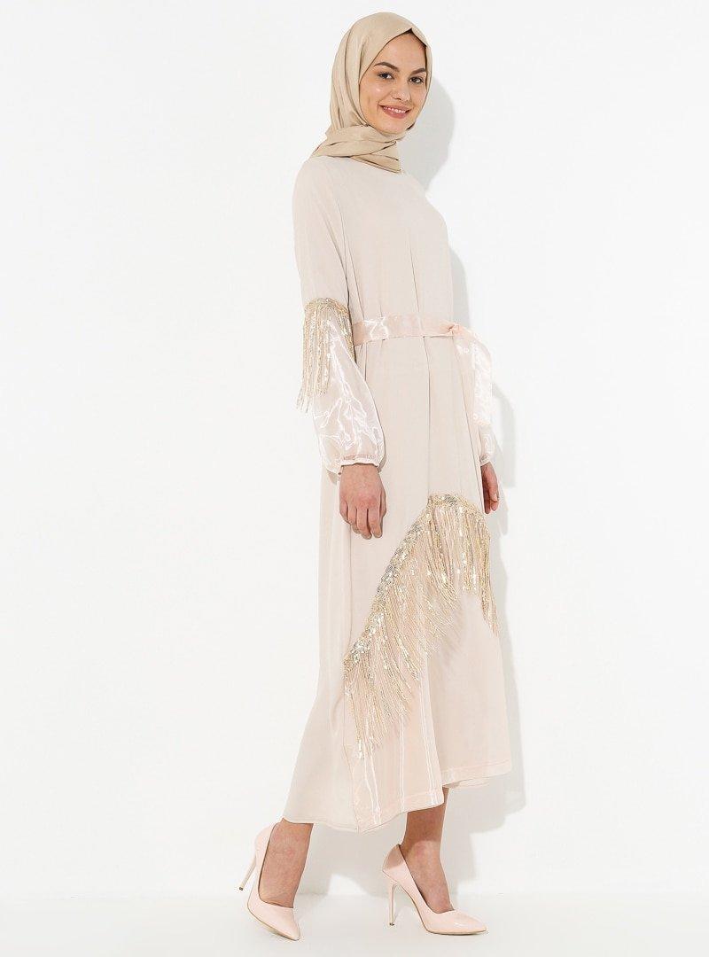Tuncay Bej Tül Detaylı Elbise