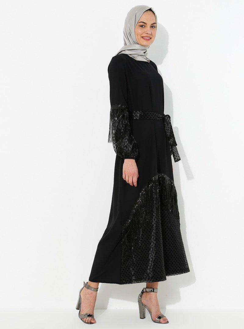 Tuncay Siyah Tül Detaylı Elbise