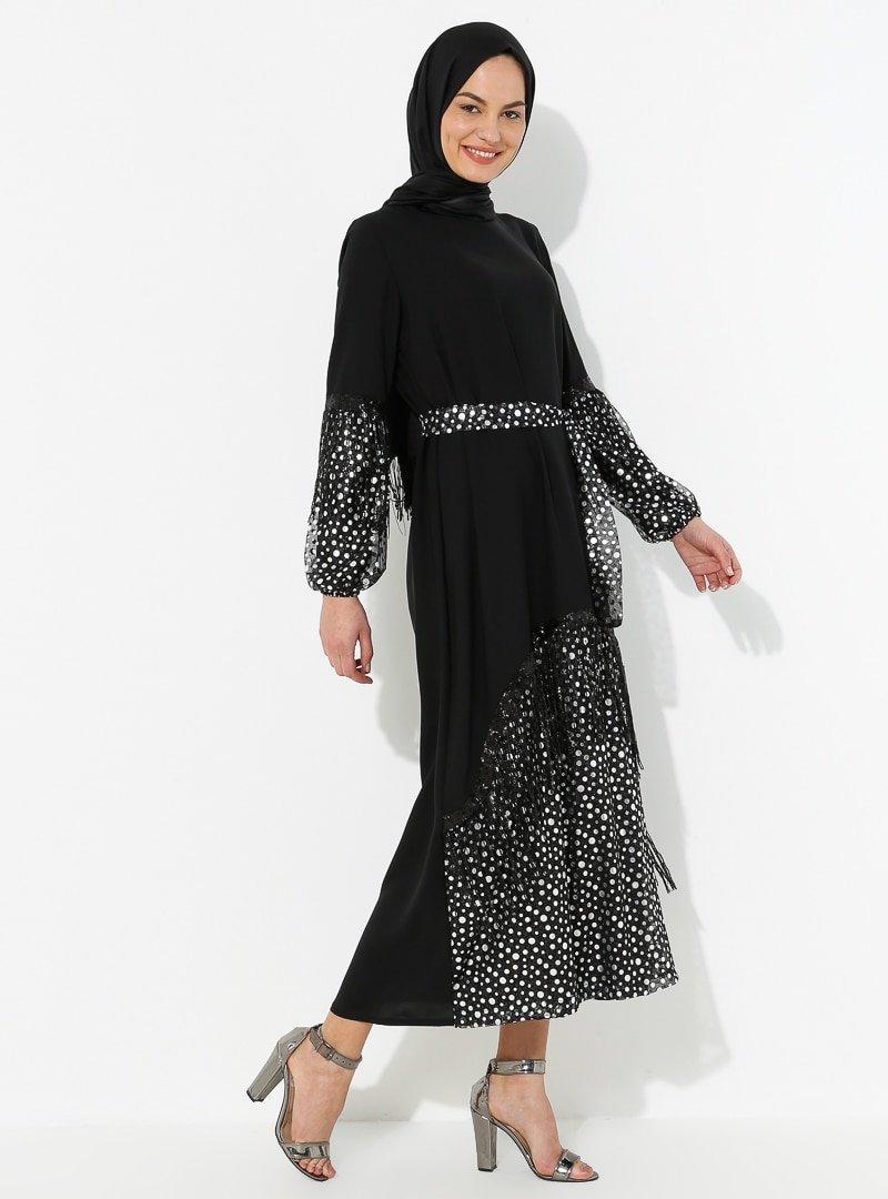 Tuncay Gümüş Siyah Tül Detaylı Elbise