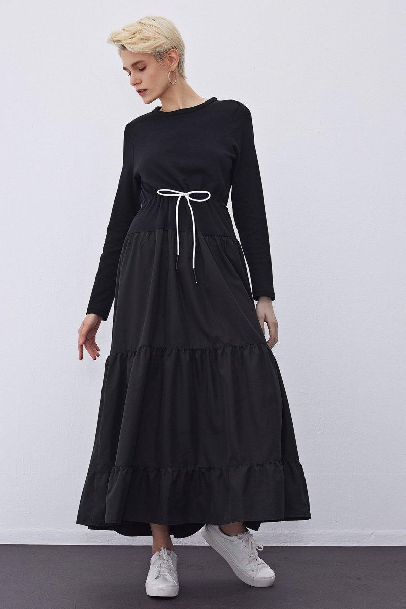 TOUCHE Siyah Beli Büzgülü Evaze Elbise