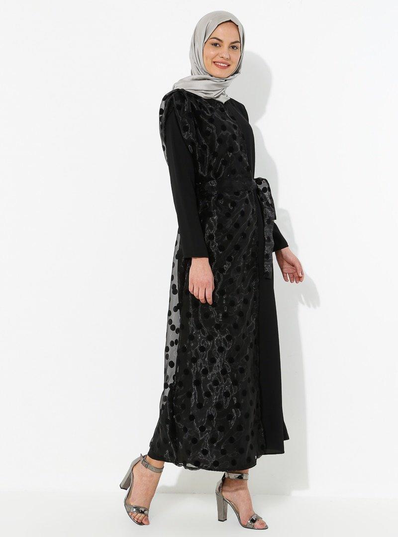 Tuncay Siyah Tül Parçalı Elbise