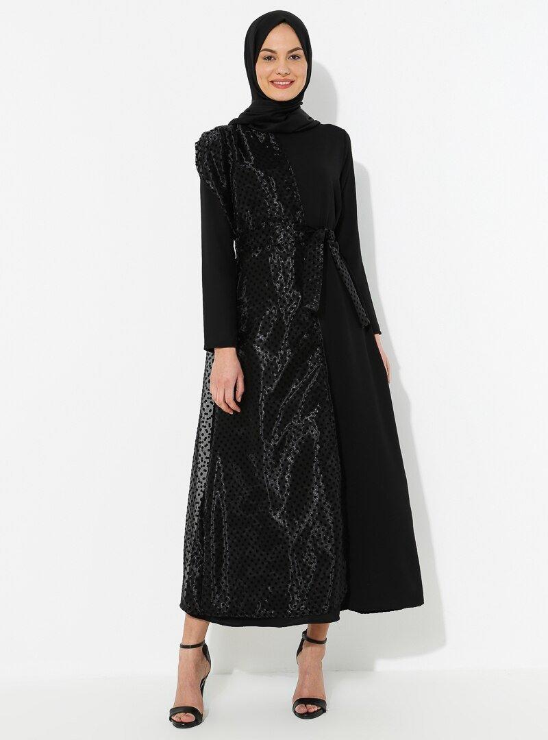 Tuncay Siyah İnci Detaylı Tül Parçalı Elbise