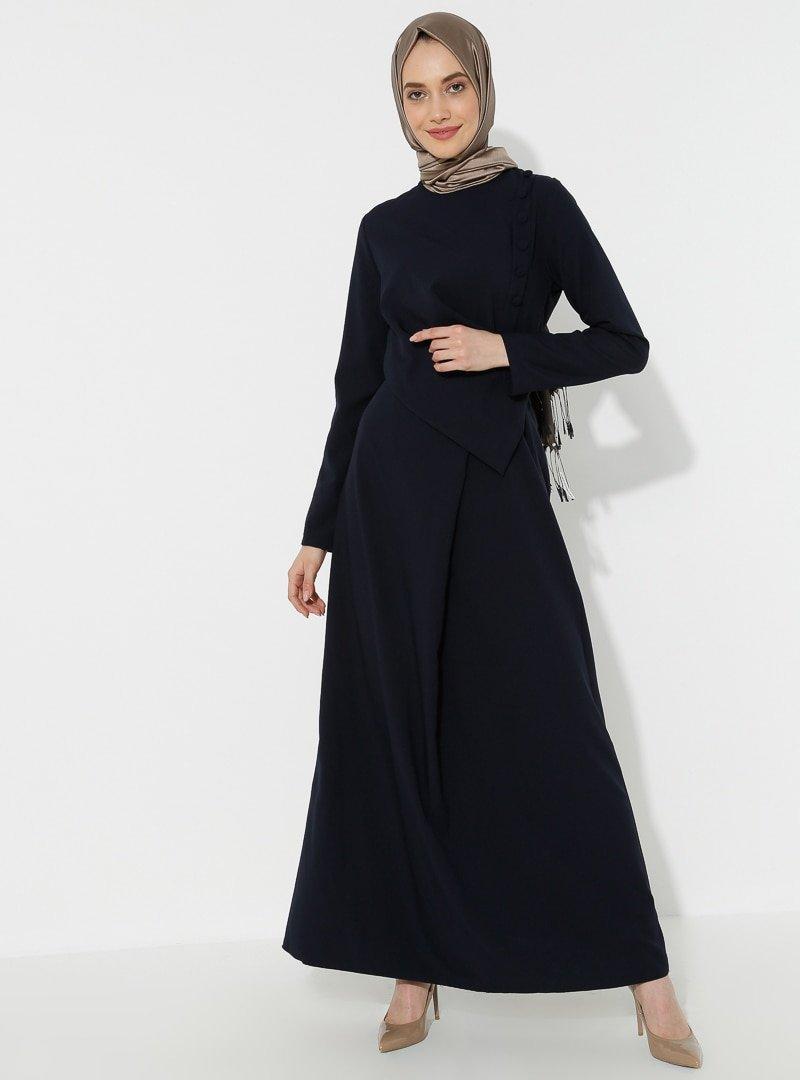 BÜRÜN Lacivert Düğme Detaylı Elbise