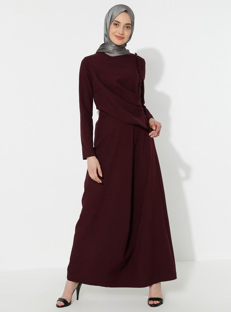 BÜRÜN Mürdüm Düğme Detaylı Elbise