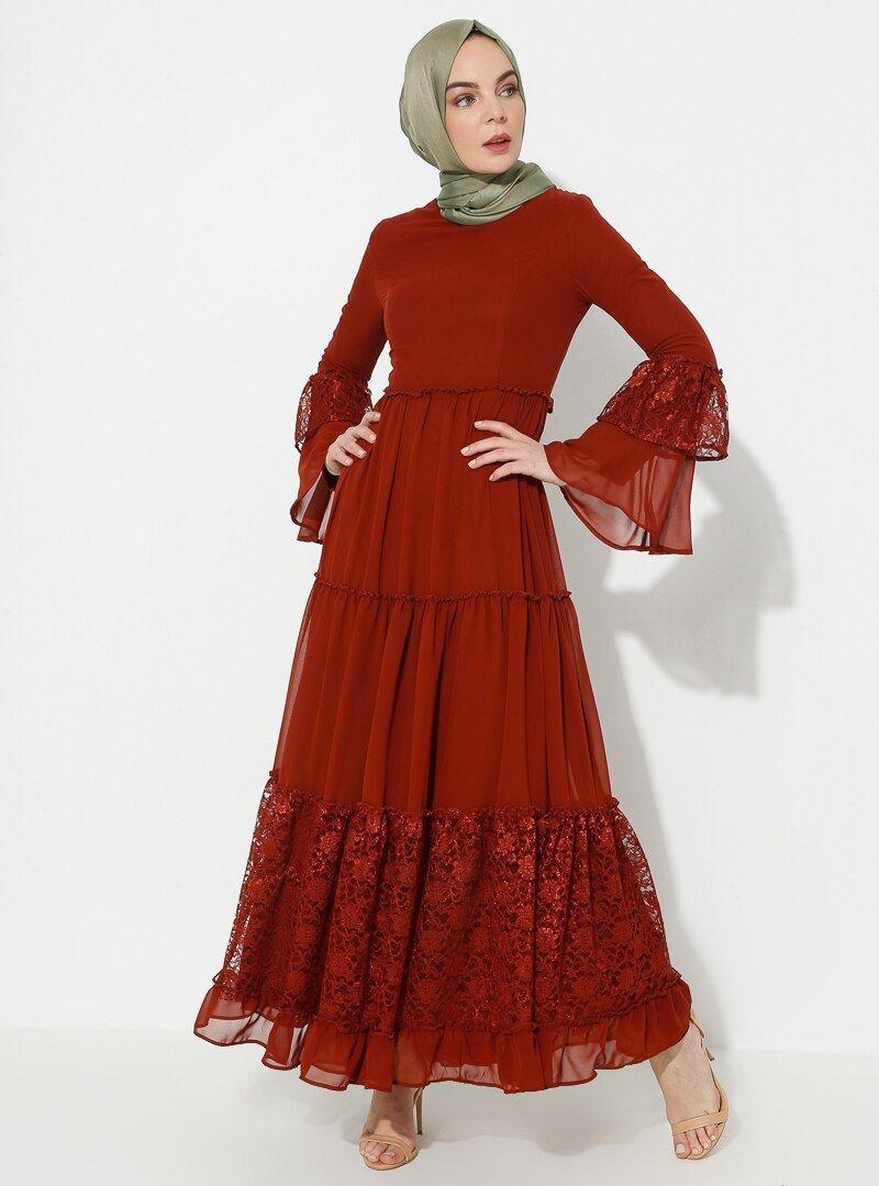 BÜRÜN Kiremit Dantelli Fırfırlı Elbise