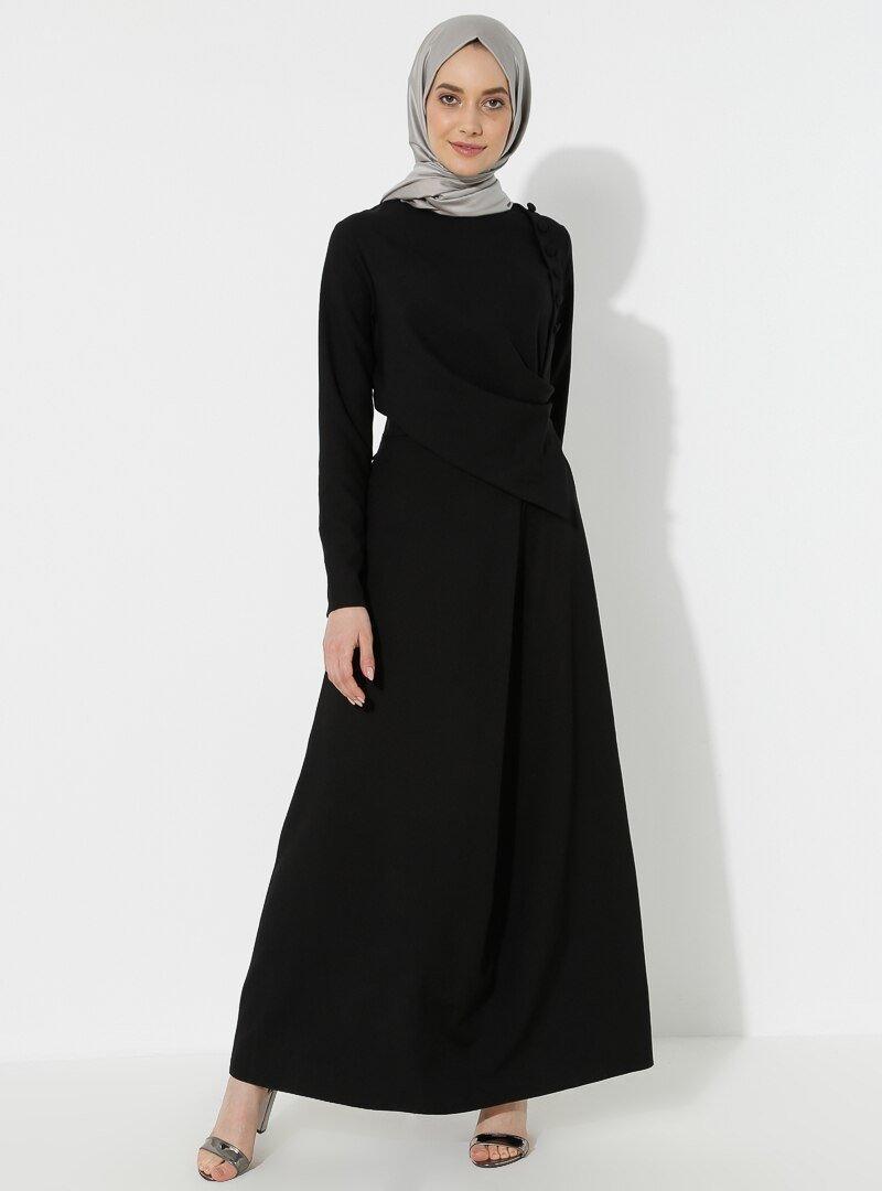 BÜRÜN Siyah Düğme Detaylı Elbise