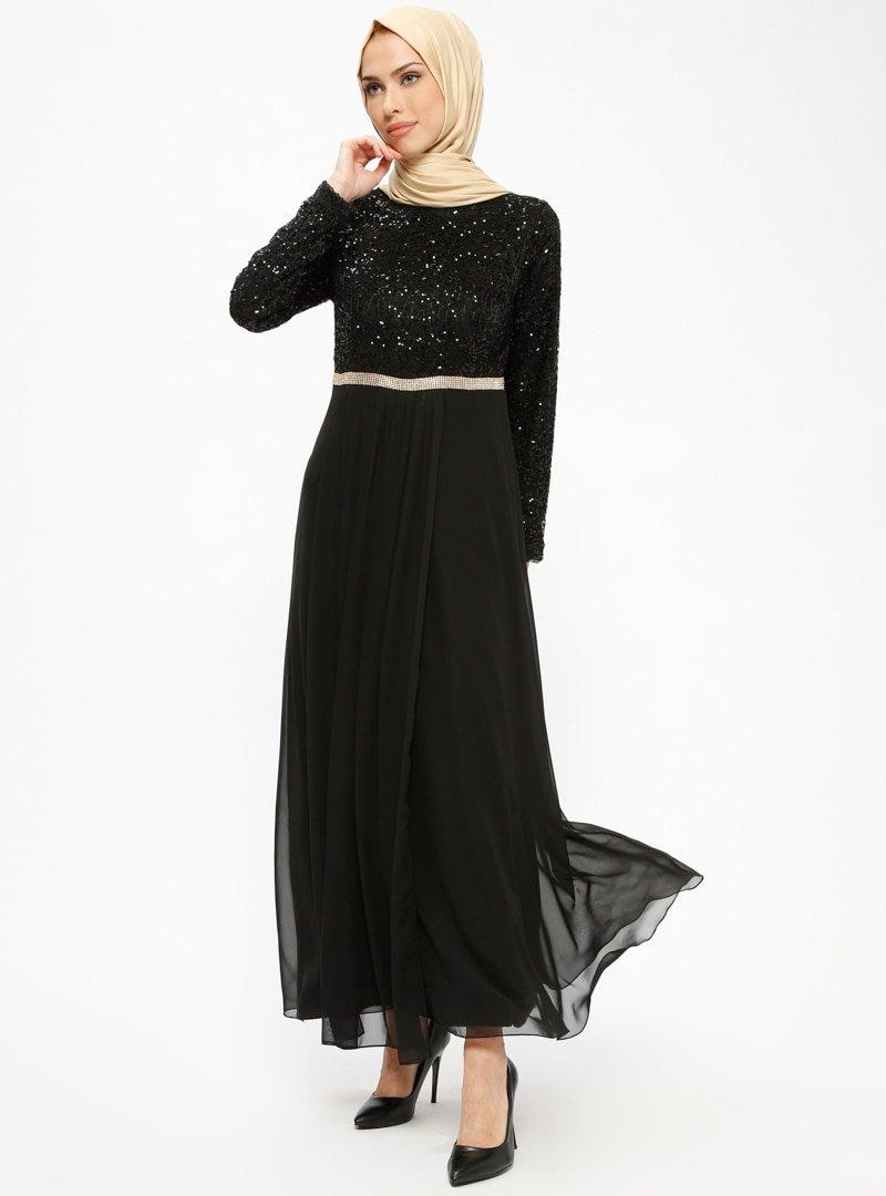MEKSİLA Siyah Payetli Abiye Elbise