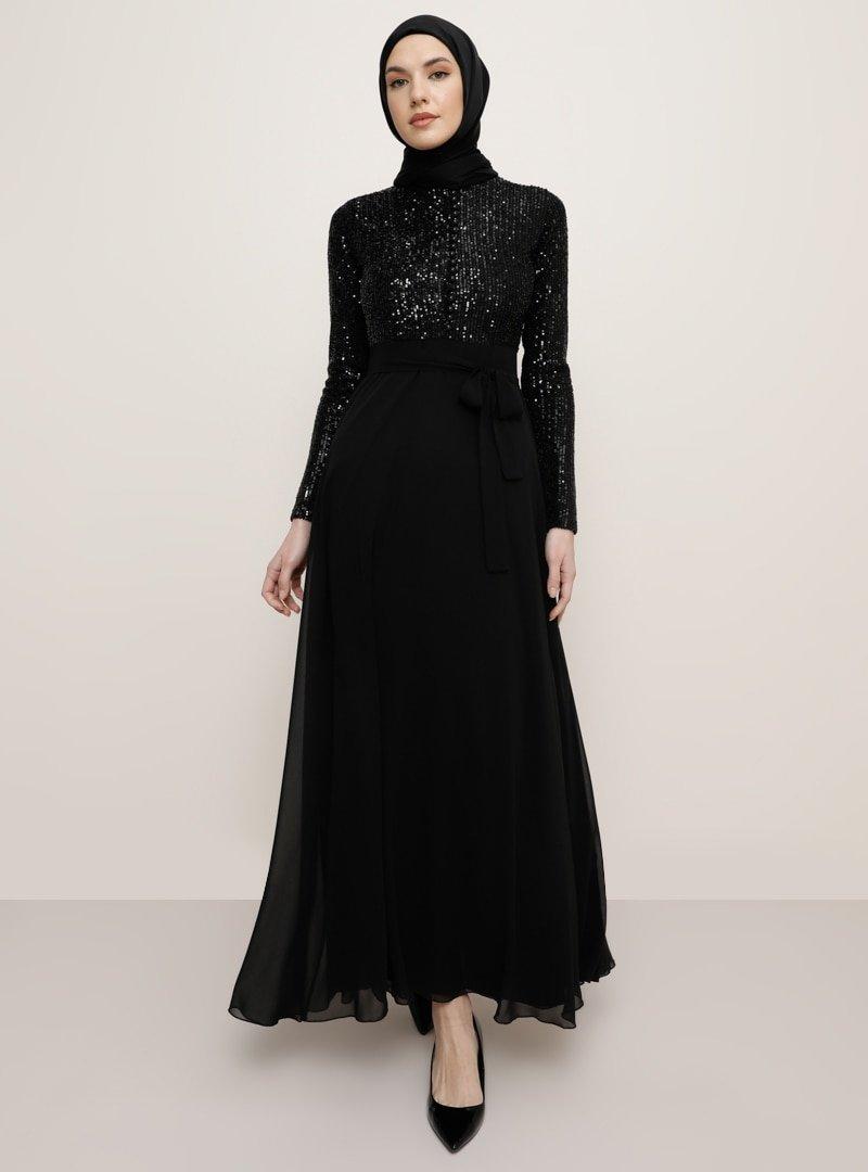 Tavin Siyah Brit Detaylı Payetli Abiye Elbise