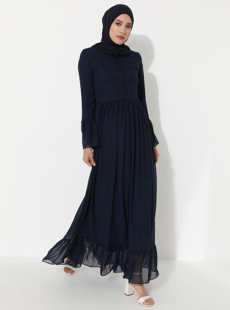 BÜRÜN Lacivert Volan Detaylı Elbise