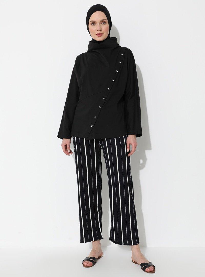 İLMEK TRİKO Lacivert Çizgili Desenli Pantolon