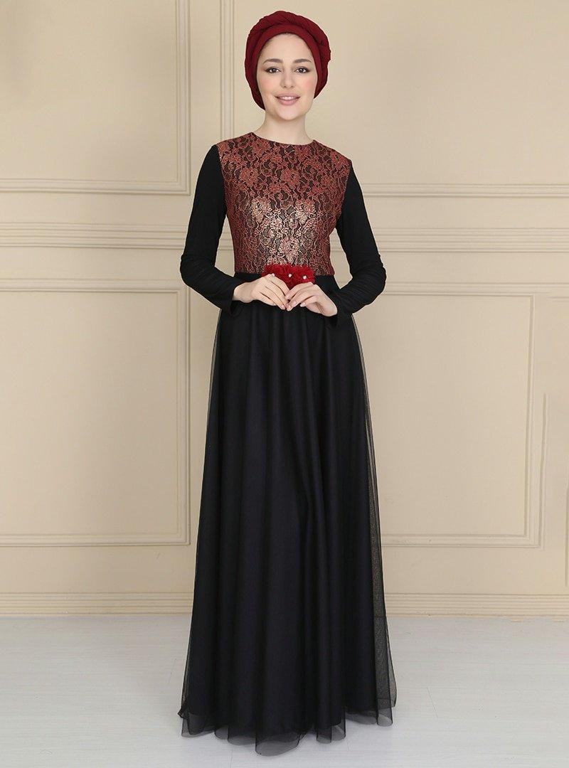Asee`s Bordo Siyah Dantelli Çiçek Detaylı Kloş Abiye Elbise