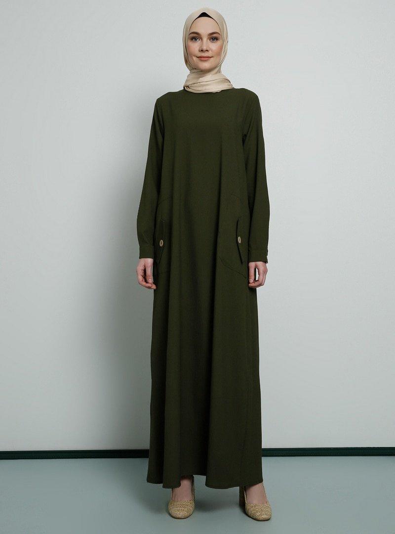 Tavin Haki Cep Detaylı Elbise