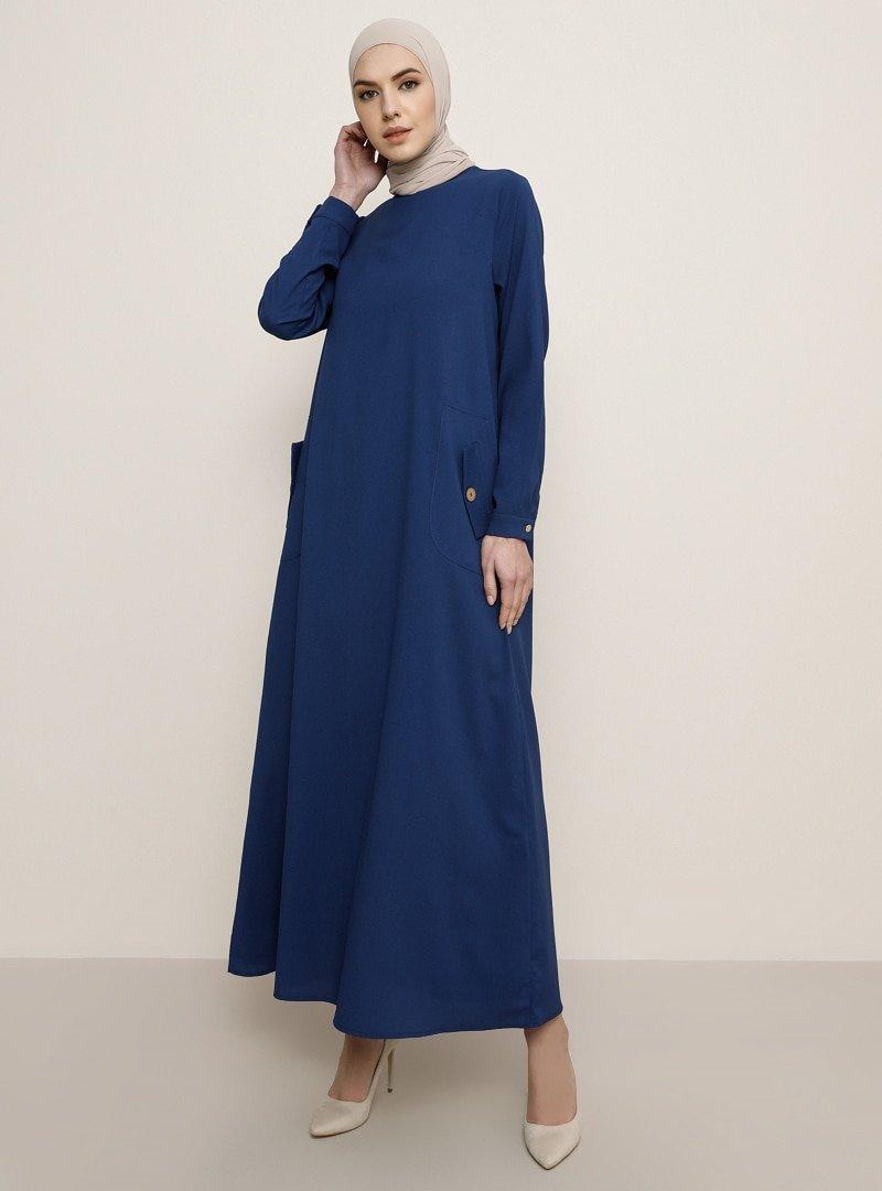 Tavin İndigo Cep Detaylı Elbise