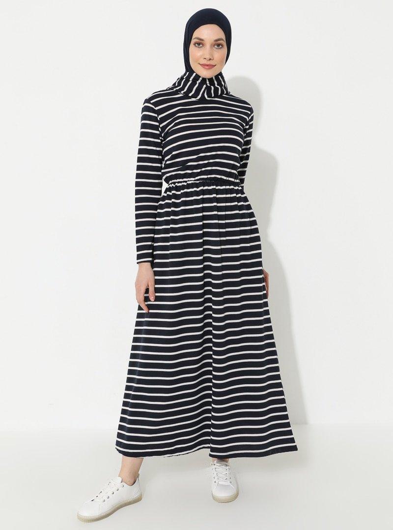 Muni Muni Lacivert Çizgili Desenli Elbise