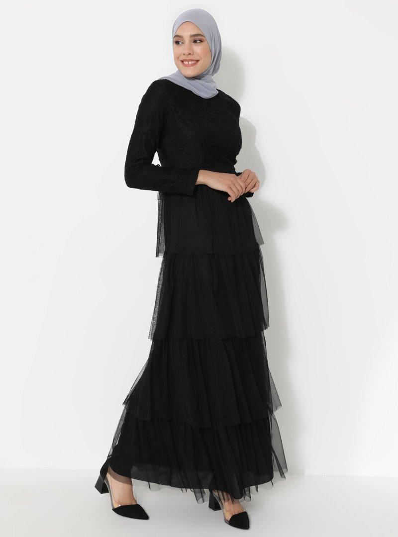 Ziwoman Siyah Tüllü Abiye Elbise