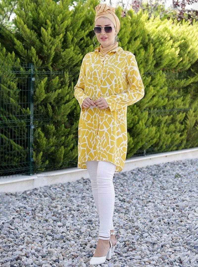 Myzen Hardal Doğal Kumaşlı Gömlek Tunik