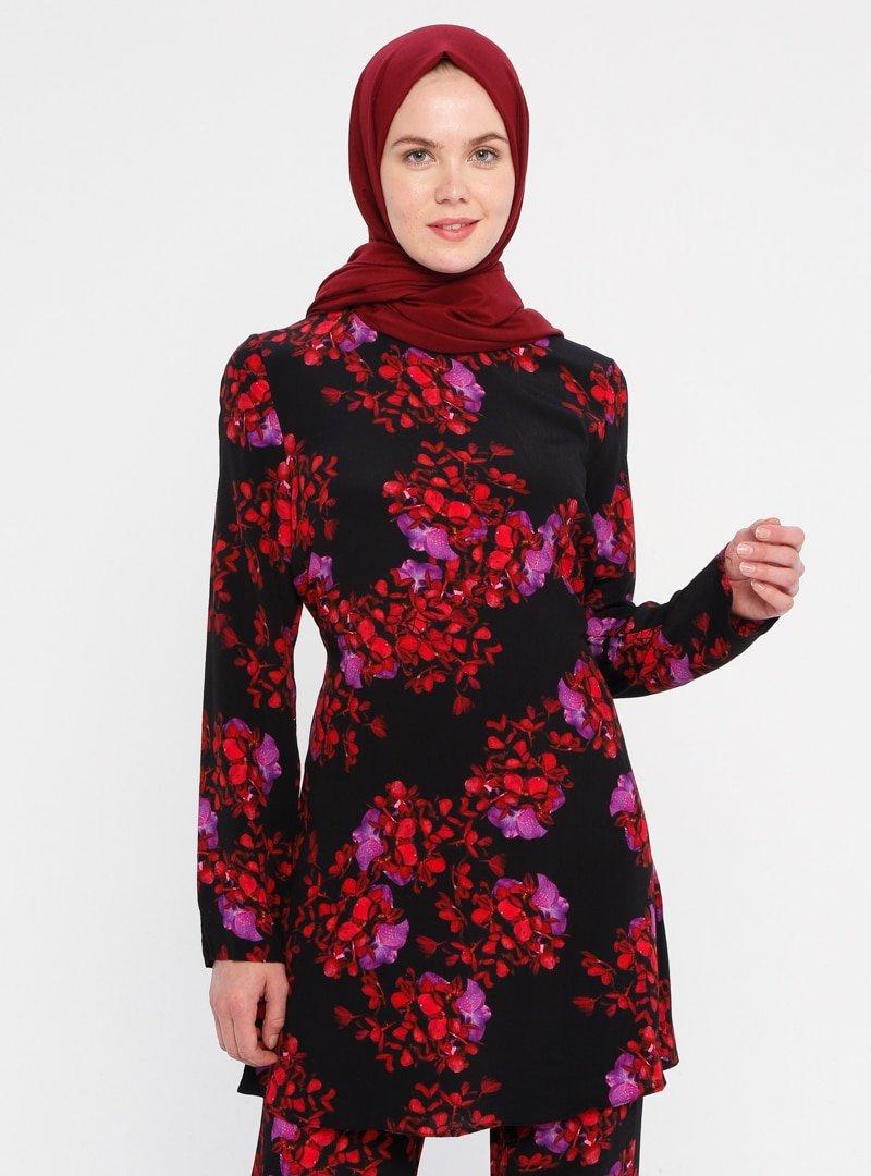 ACR CLOTHİNG Çok Renkli Çiçek Desenli Tunik