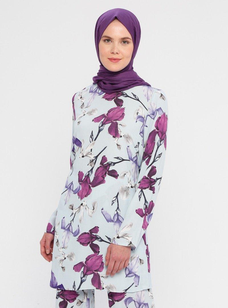 ACR CLOTHİNG Renkli Çiçek Desenli Tunik