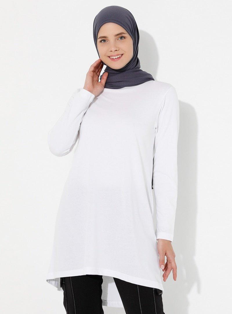 Saye Modest Beyaz Sade Tunik