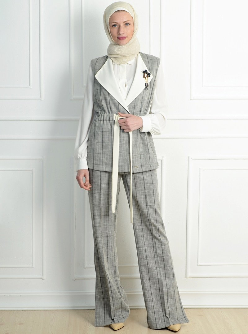 NC Design Beyaz Gri Yelek&Pantolon İkili Takım