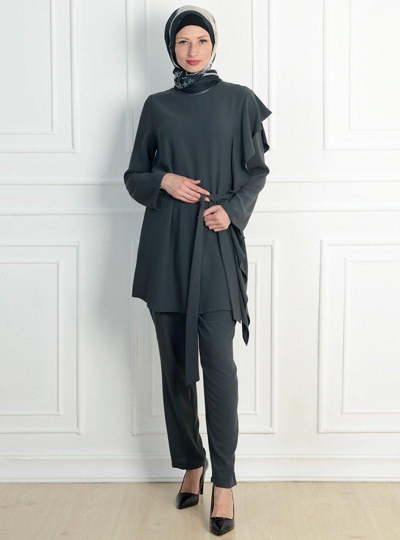 NC Design Antrasit Tunik&Pantolon İkili Takım