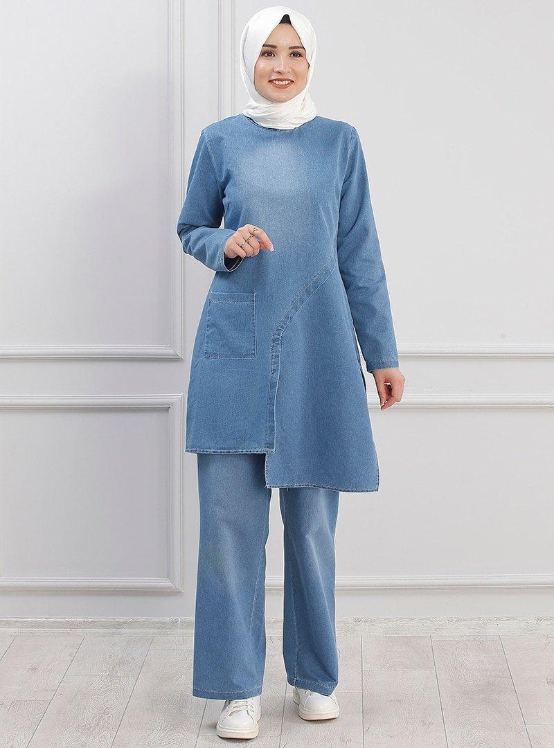 Piennar Mavi Kot Tunik&Pantolon İkili Takım