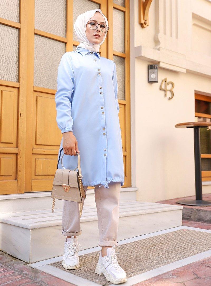 Tofisa Bebe Mavisi Boydan Düğmeli Tunik