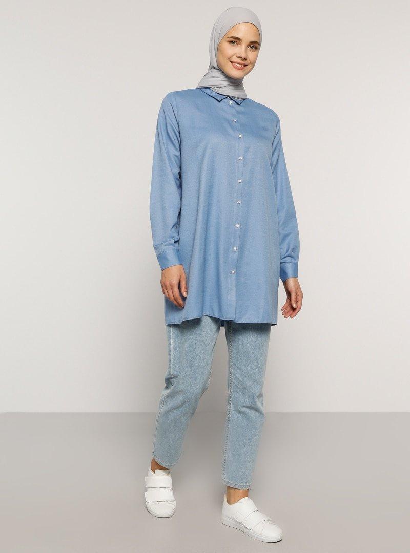 Everyday Basic Mavi Derin Çıtçıt Detaylı Tunik