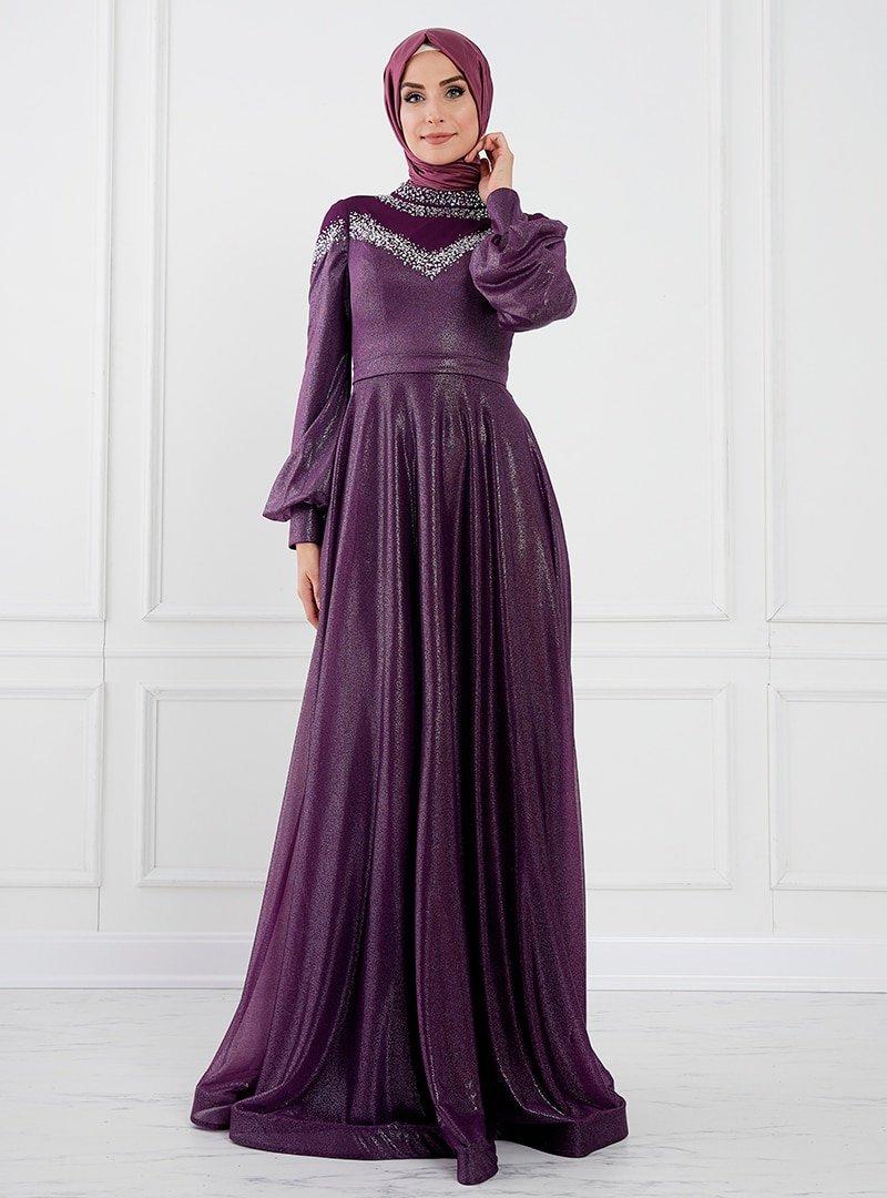 Moda Sinanlar Mürdüm Belinay Abiye Elbise