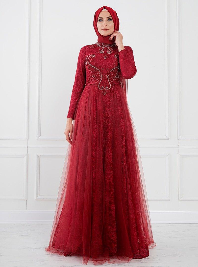 Moda Sinanlar Kırmızı Aden Abiye Elbise