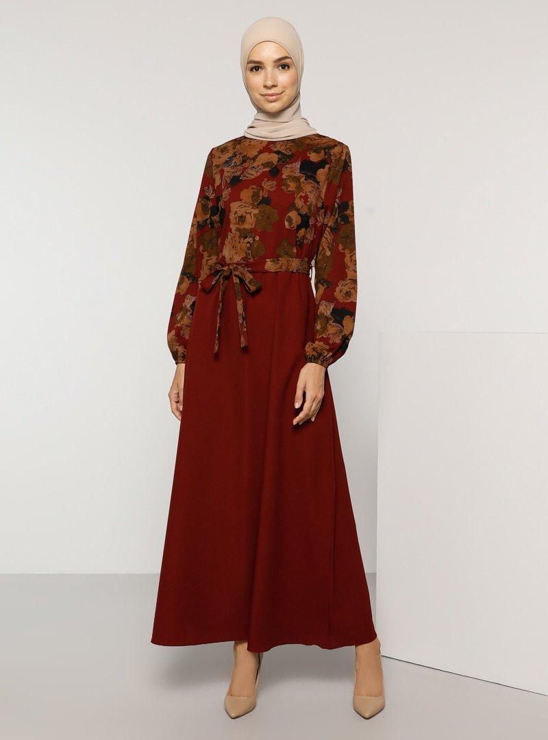 Tavin Bordo Çiçek Desenli Elbise