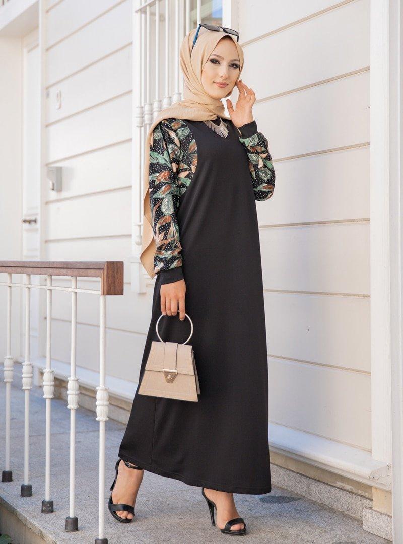 Tofisa Siyah Çiçek Desenli Elbise