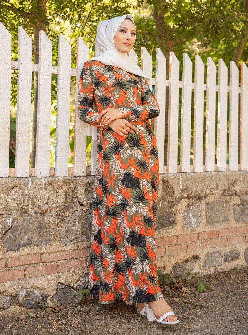Tofisa Haki Desenli Elbise