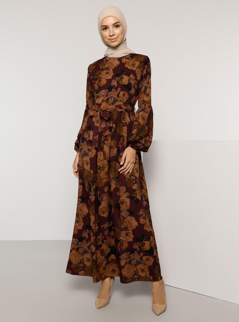 Tavin Mor Desenli Elbise