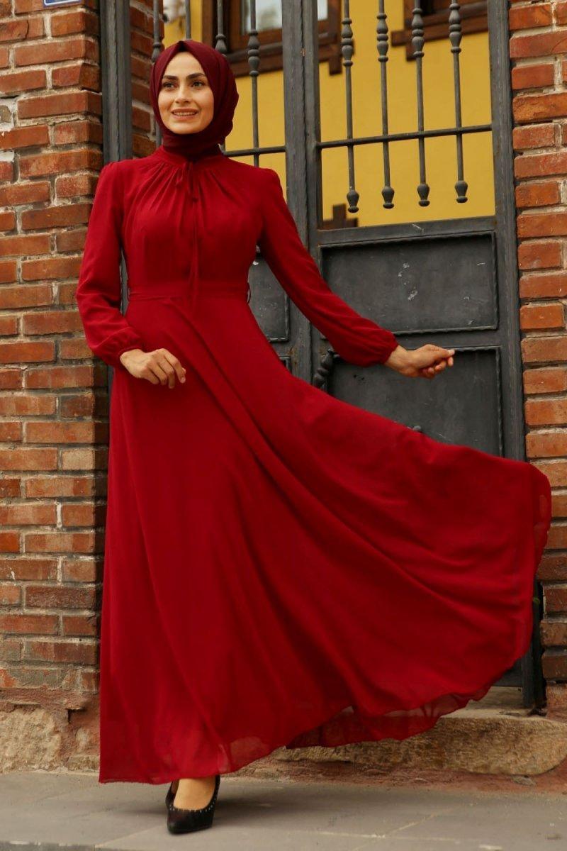 Feiza Collection Bordo Abiye Elbise