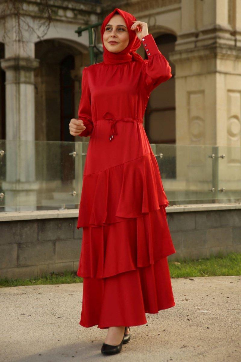 Feiza Collection Kırmızı Belden Büzgülü Elbise