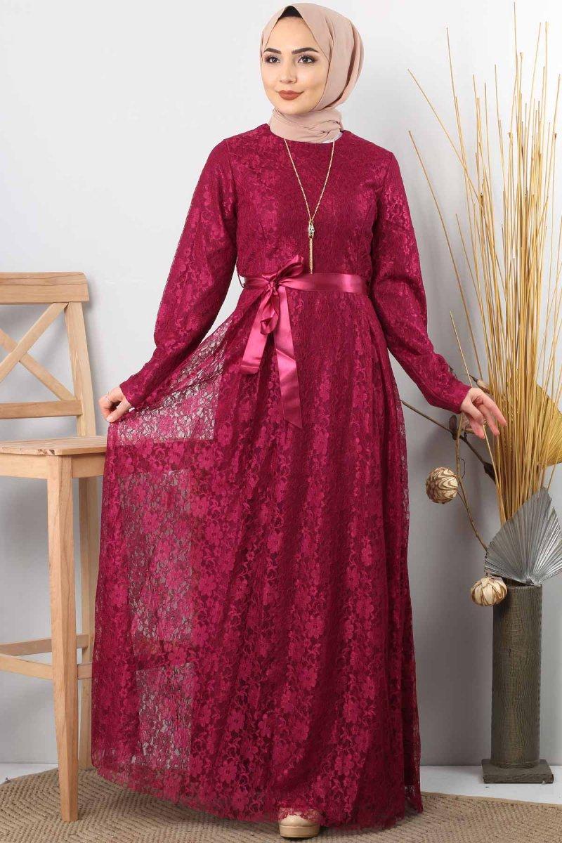 Tesettür Dünyası Boro Kolyeli Dantelli Abiye Elbise