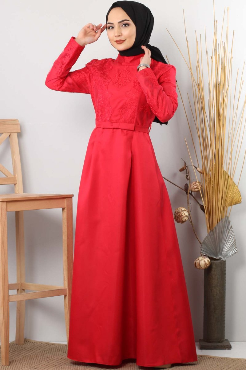 Tesettür Dünyası Kırmızı Sultan Abiye Elbise