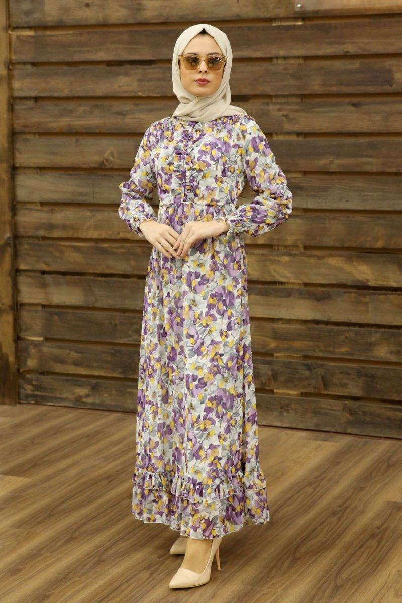 Feiza Collection Mor Çiçek Desenli Elbise