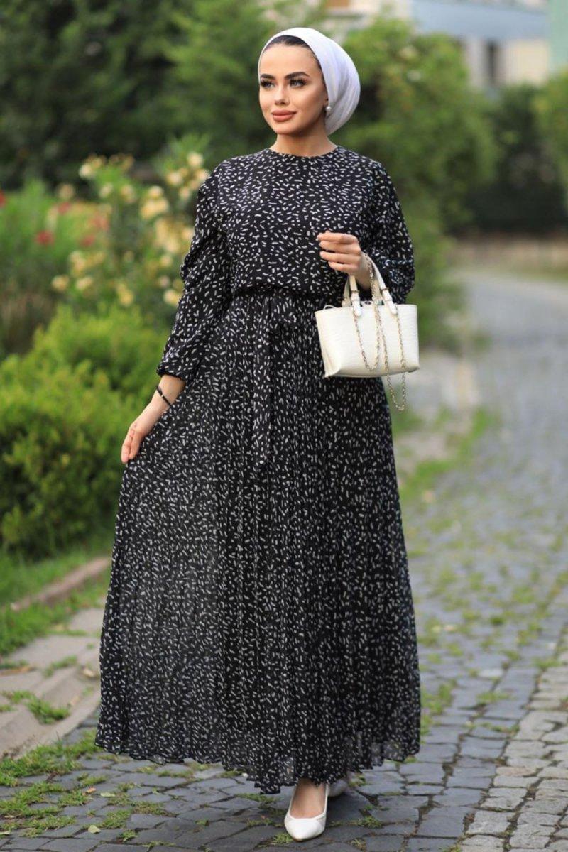 Feiza Collection Siyah Desenli Elbise