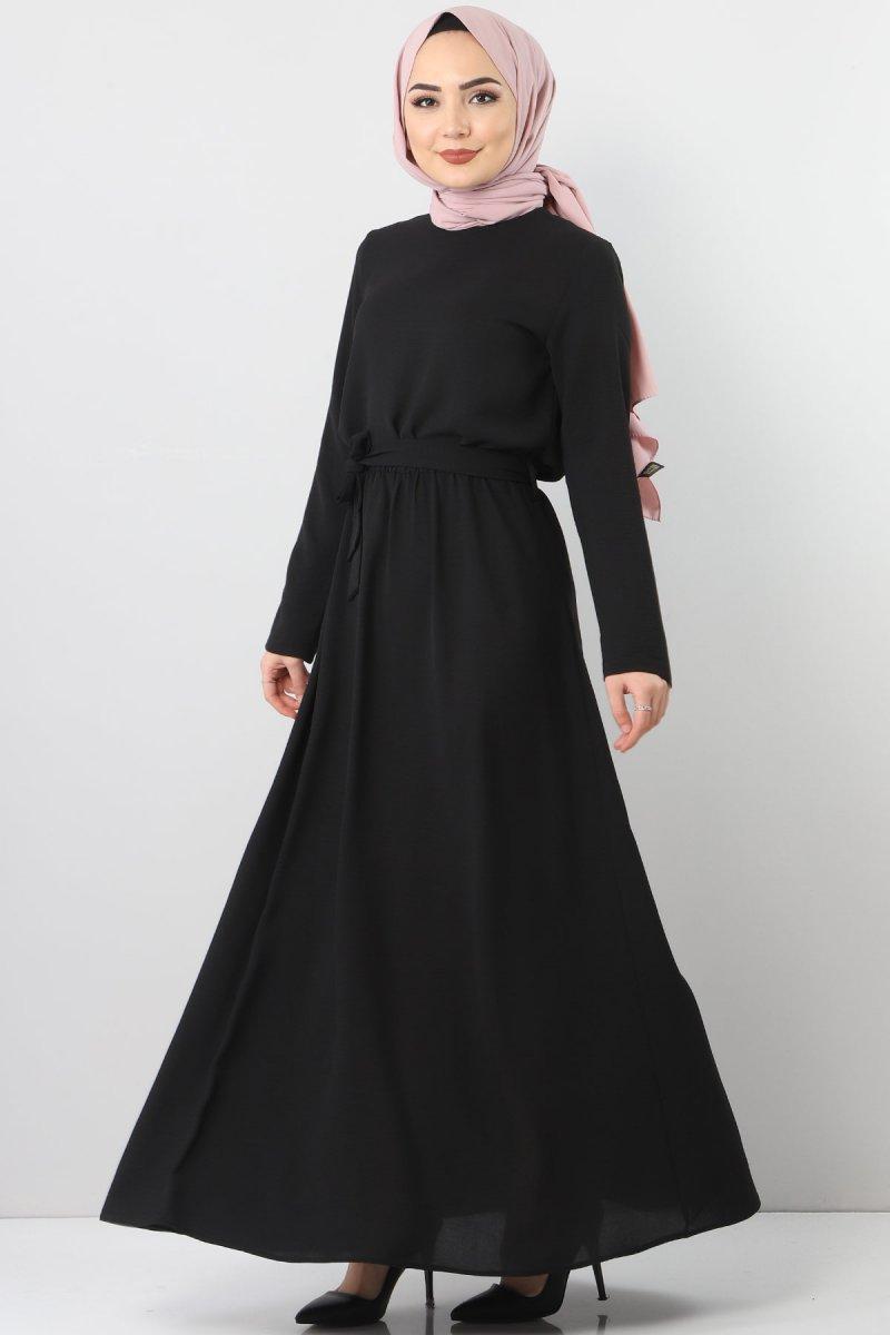 Tesettür Dünyası Siyah Beli Lastikli Ayrobin Elbise