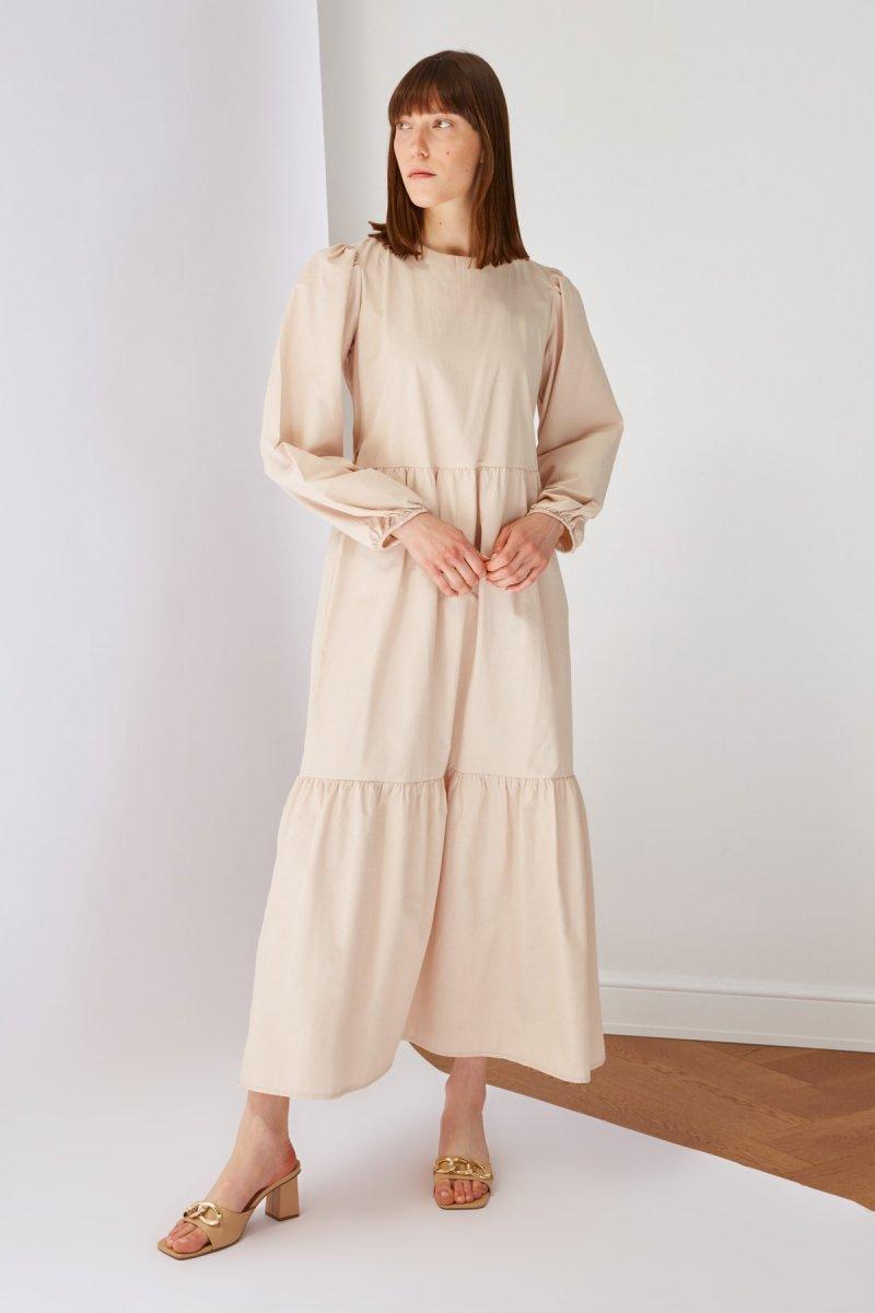 Trendyol Modest Bej Poplin Elbise