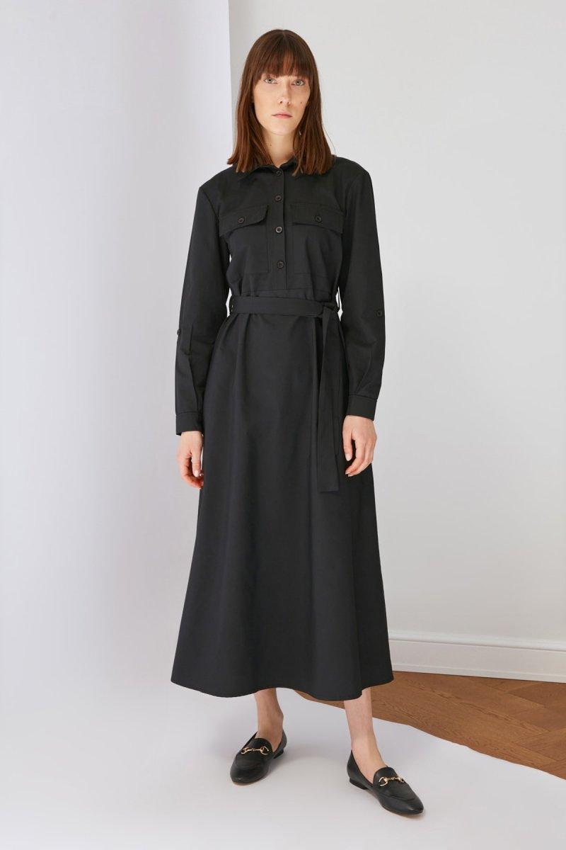 Trendyol Modest Siyah Gömlek Yaka Elbise