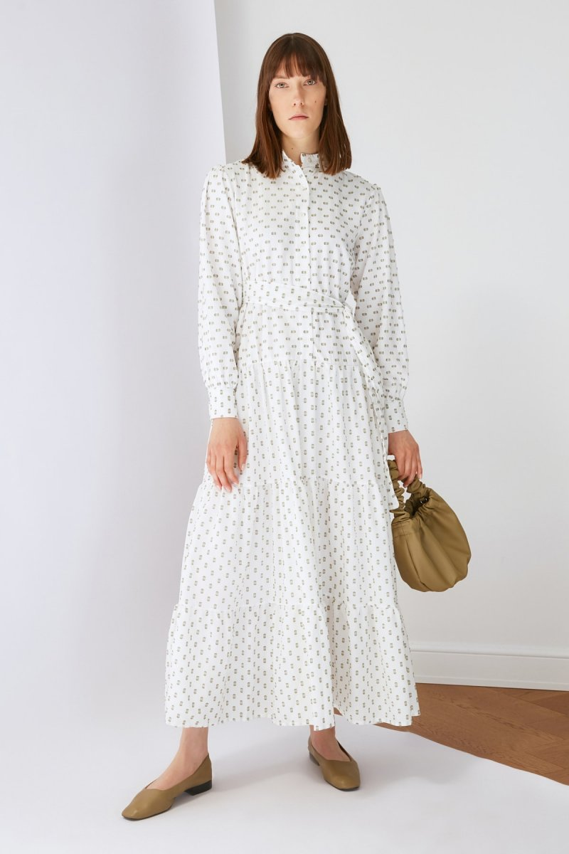 Trendyol Modest Ekru Puantiyeli Kumaş Elbise