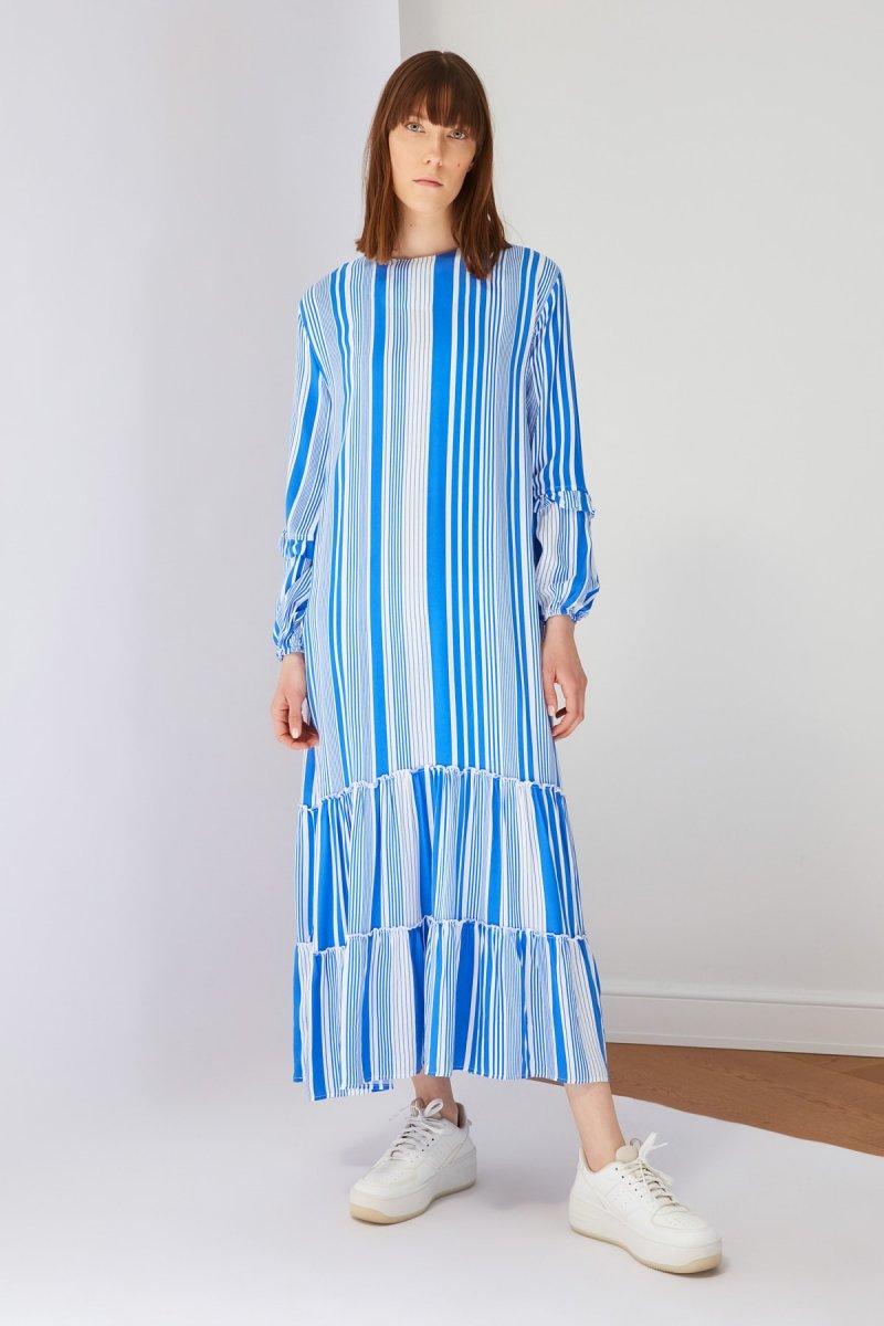 Trendyol Modest Saks Çizgili Viskon Elbise