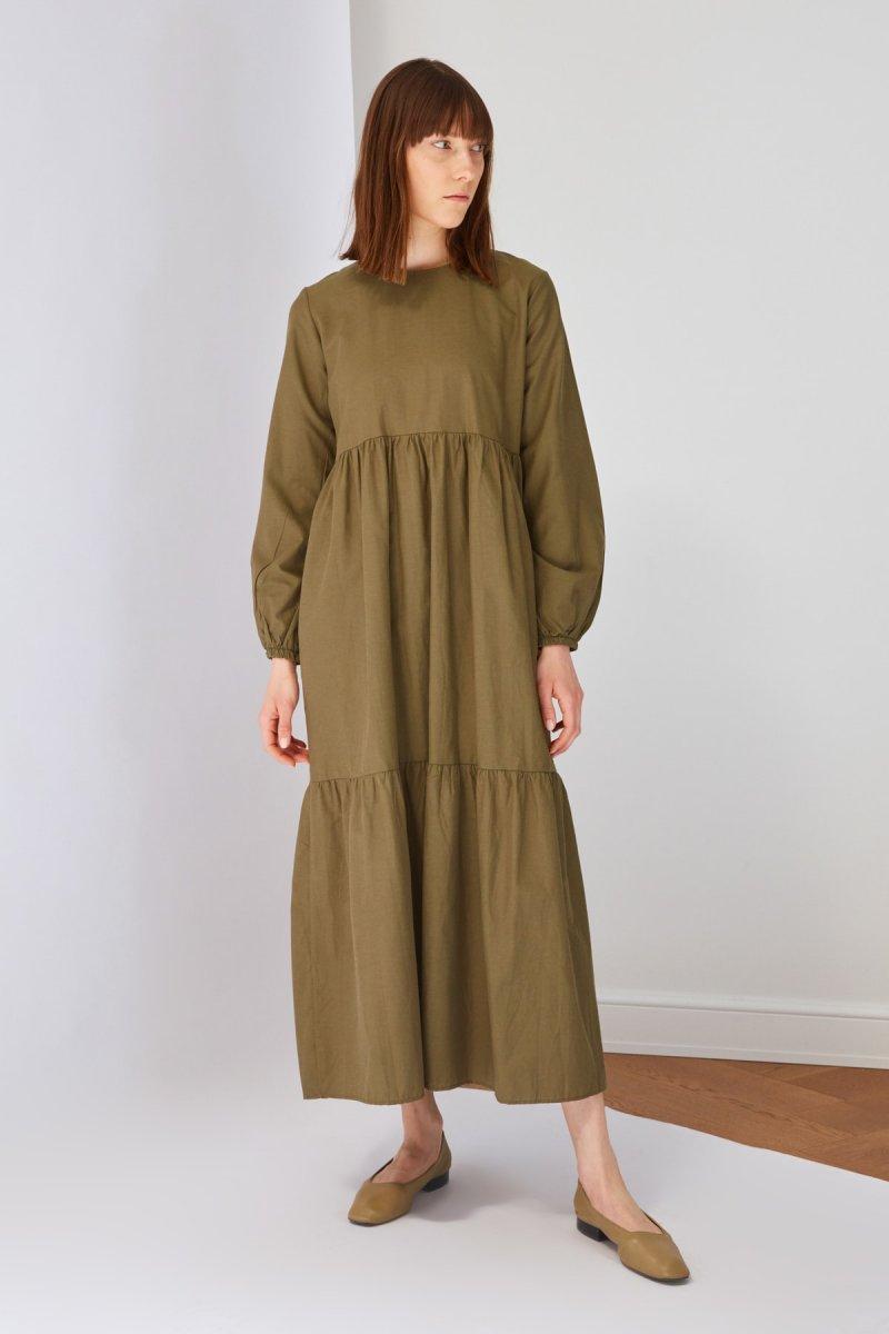 Trendyol Modest Haki Pamuk Poplin Elbise